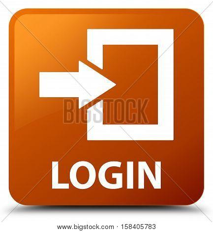 Login (arrow box icon) brown square button