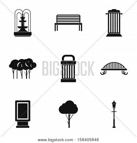 Park things icons set. Simple illustration of 9 park things vector icons for web