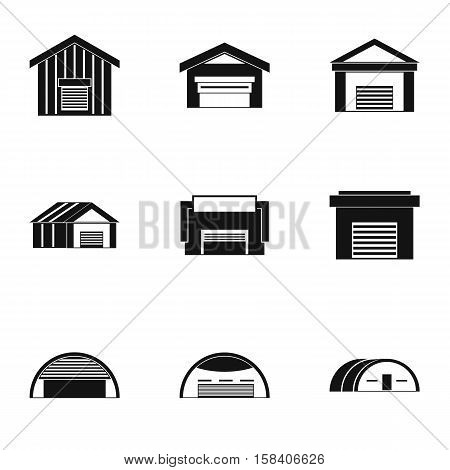 Types of garages icons set. Simple illustration of 9 types of garages vector icons for web