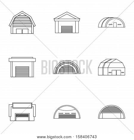 Types of garages icons set. Outline illustration of 9 types of garages vector icons for web