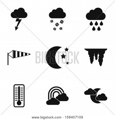 Weather outside icons set. Simple illustration of 9 weather outside vector icons for web
