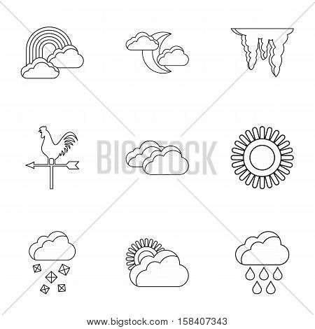 Kinds of weather icons set. Outline illustration of 9 kinds of weather vector icons for web