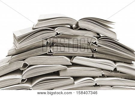lot of open books isolated on white background
