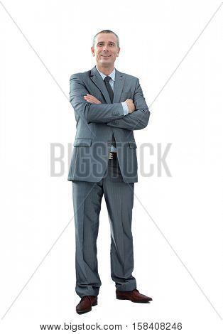 portrait of confident businessman in a gray business suit lookin