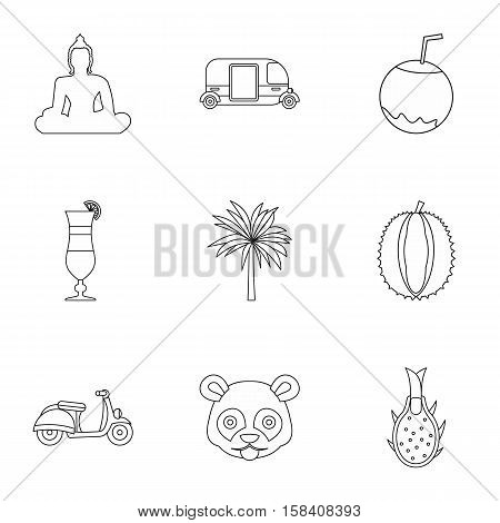 Country Thailand icons set. Outline illustration of 9 country Thailand vector icons for web