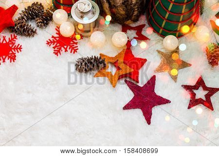 Christmas background with Christmas decoration with stars cones snowman. Happy New Year and Xmas theme