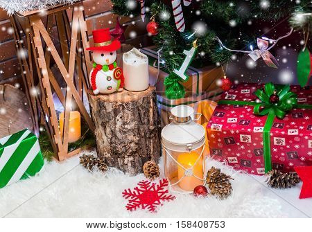 Christmas Background With Christmas Decoration With Stars, Cones, Snowman. Happy New Year And Xmas