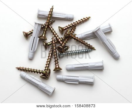 wood screws isolated on a white background