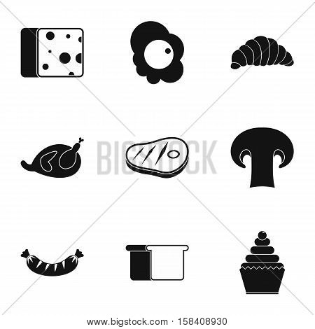 Morning meal icons set. Simple illustration of 9 morning meal vector icons for web