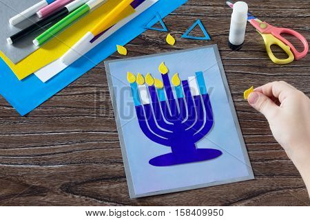 The Child Glues The The Details Greeting Cards Image Of The Jewish Holiday Of Hanukkah. Glue, Scisso