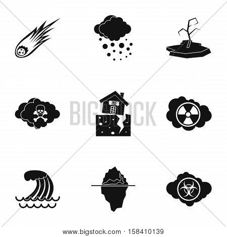 Disaster icons set. Simple illustration of 9 disaster vector icons for web