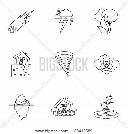 Natural disasters icons set. Outline illustration of 9 natural disasters vector icons for web