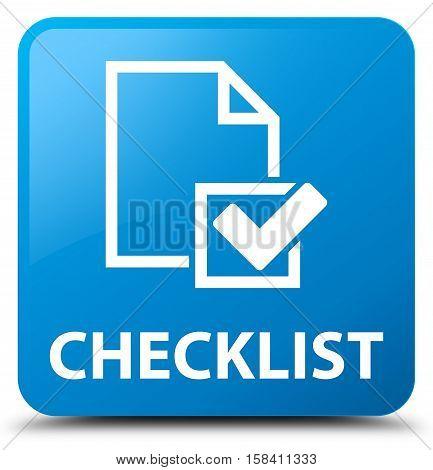 Checklist (checkbox icon) cyan blue square button