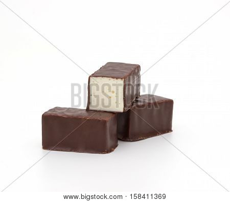 chocolate pralines isolated on a white background