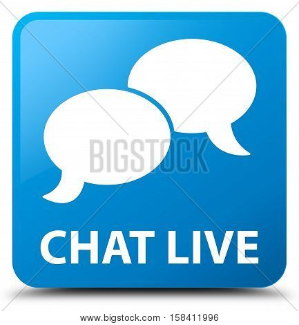 Chat live (chat icon) cyan blue square button