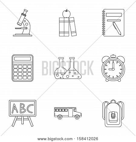 Schoolhouse icons set. Outline illustration of 9 schoolhouse vector icons for web
