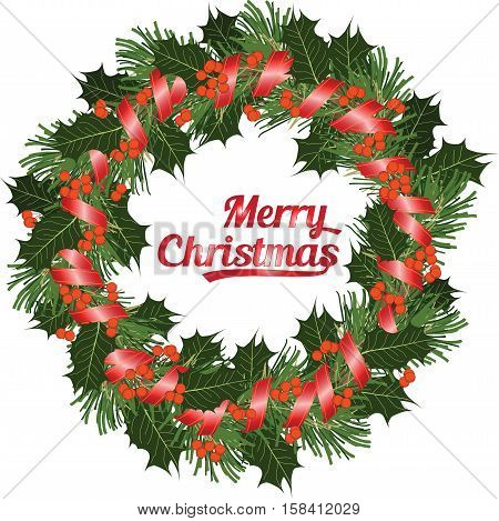 Christmas Wreath Of Conifer Ang Holly Branch With Berries On White Backgriound, Vector Illustration