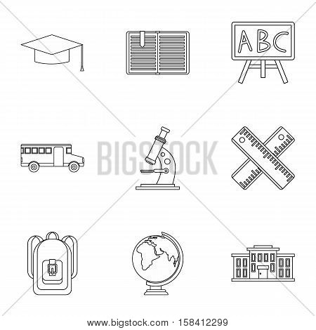 Schooling icons set. Outline illustration of 9 schooling vector icons for web