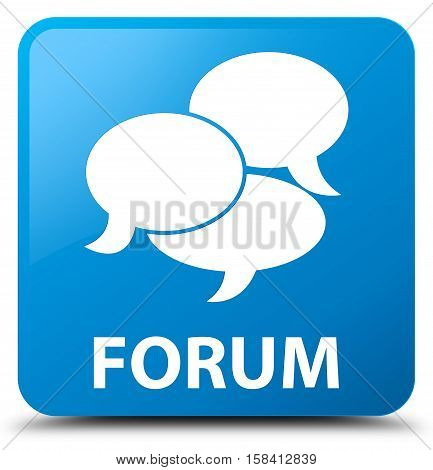 Forum (comments icon) cyan blue square button