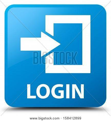 Login (arrow box icon) cyan blue square button