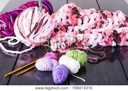 crochet and different colors of soft yarns