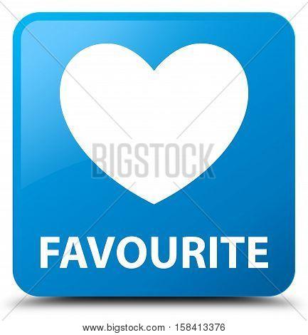 Favourite (heart icon) cyan blue square button