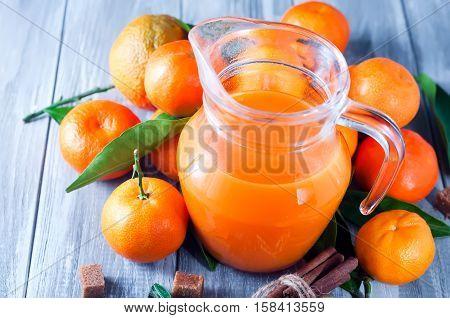 Full Jug Of Tangerine Juice With Tangerines