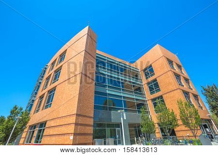 Mountain View, CA, United States - August 15, 2016: Google Building 1950 near the neighbouring main Googleplex.Google is a multinational corporation specializing in Internet services and products.