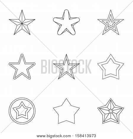 Five-pointed star icons set. Outline illustration of 9 five-pointed star vector icons for web