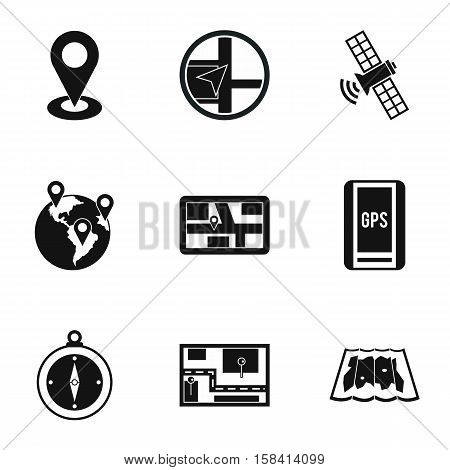GPS icons set. Simple illustration of 9 GPS vector icons for web