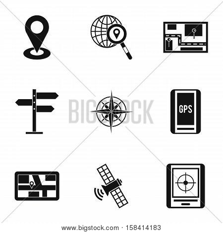 GPS map icons set. Simple illustration of 9 GPS map vector icons for web