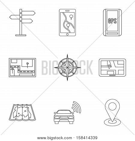 GPS map icons set. Outline illustration of 9 GPS map vector icons for web