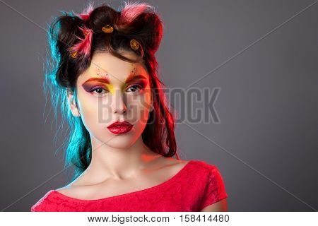 Portrait Of A Girl With Creative Make-up.