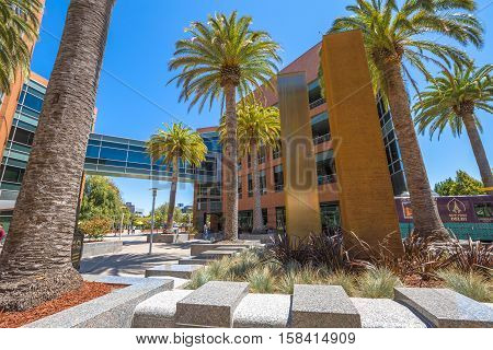Mountain View, California, United States - August 15, 2016: Google Buildings 1900 and 2000 form a small group to the east near the neighbouring main Googleplex in Charleston Rd.