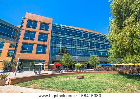Mountain View, CA, USA - August 15, 2016: dining and relaxing area for Google employees at Google's headquarters or Googleplex.