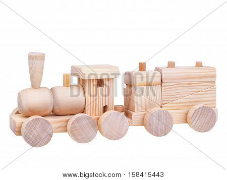 Wooden Toy logic Train with clipping path isolated on white background