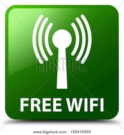 Free Wifi (wlan Network) Green Square Button