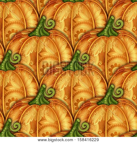 Vector Colored Seamless Pattern With Decorative Pumpkin