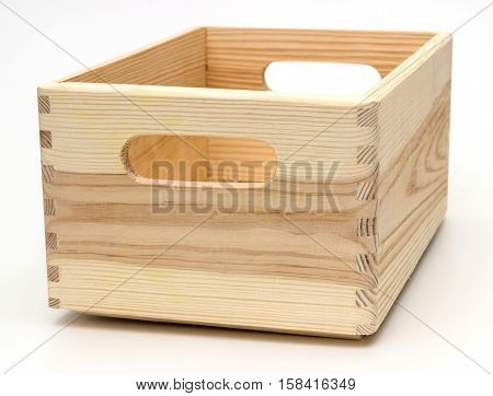 empty wood crate on a white background