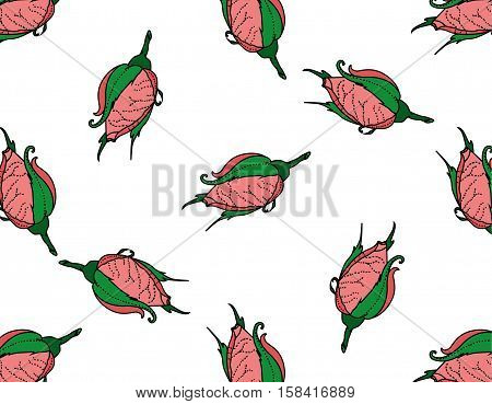 Rosebuds. Seamless background pattern. Hand drawn. Can be used in design, as wrap paper, cover skin, etc. - stock