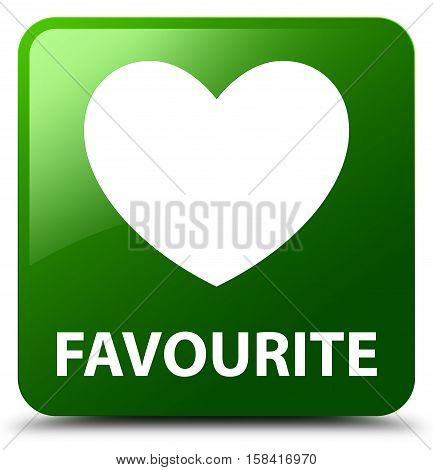 Favourite (heart icon) isolated on abstract green square button