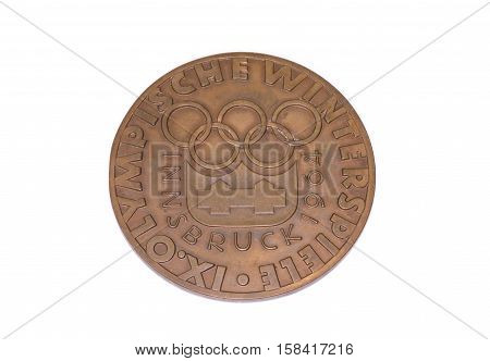 Innsbruck 1964 Winter Olympic Games Participation Medal, Reverse. Kouvola, Finland 06.09.2016.