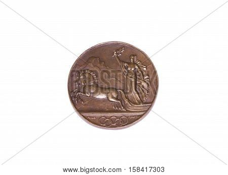 St Moritz 1928 Winter Olympic Games Participation Medal, Obverse. Kouvola, Finland 06.09.2016.