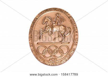 Stockholm 1956 Olympic Games Participation Medal, Obverse. Kouvola, Finland 06.09.2016.