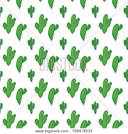 Seamless pattern with cactus and flowers in green and pink on white background.