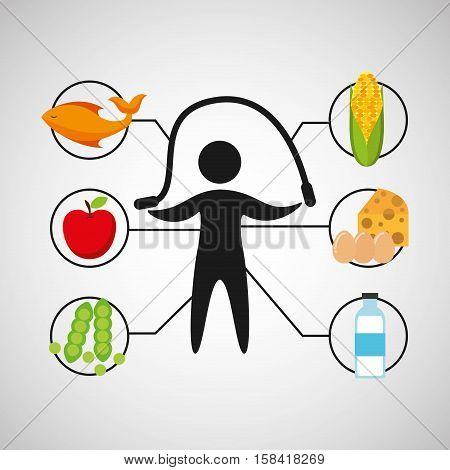 sport man jumping rope nutrition health vector illustration eps 10