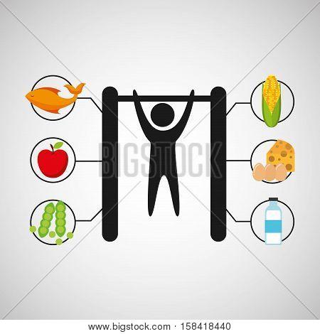 sport man gymnastics nutrition health vector illustration eps 10