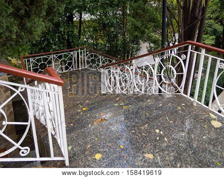 Wet stairs to the Chekhov museum home to the city of Yalta Crimea