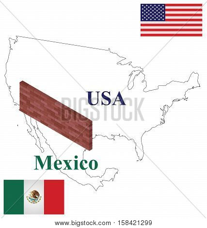 Outline USA Mexico map with brick wall at border to stop illegal immigration .isolated on white background