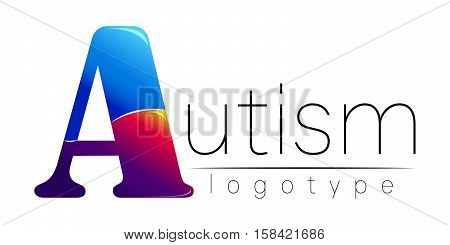 Modern logo of Psychology. Autism. Creative style. Logotype in vector. Design concept. Blue and red color letter A on white background. Symbol for web, print, card, flyer. Disease